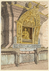 Shrine of the 5th Celestial Buddha, Amoghasiddha on the north side of the base of the temple of Adi Buddha, Sambhunath. April 1854